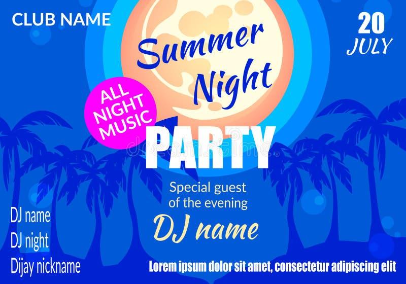 Insegna orizzontale del partito di notte di estate, cartello illustrazione vettoriale