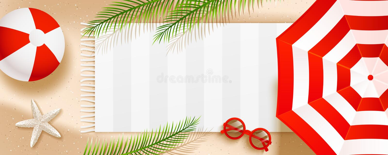 Insegna orizzontale della spiaggia di estate con l'ombrello di sole, gli occhiali da sole, la stella di mare, la palla, l'asciuga illustrazione di stock