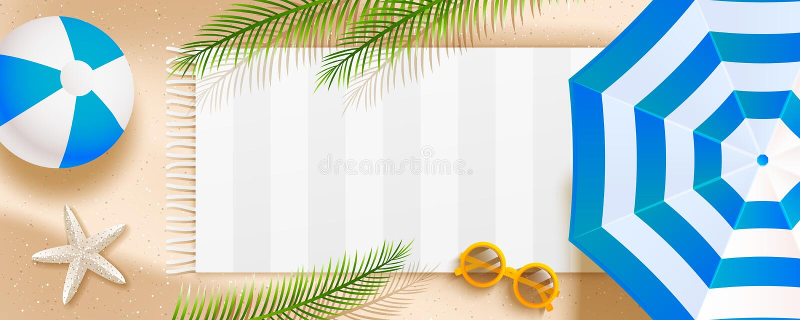 Insegna orizzontale della spiaggia di estate con l'ombrello di sole, gli occhiali da sole, la stella di mare, la palla, l'asciuga illustrazione vettoriale