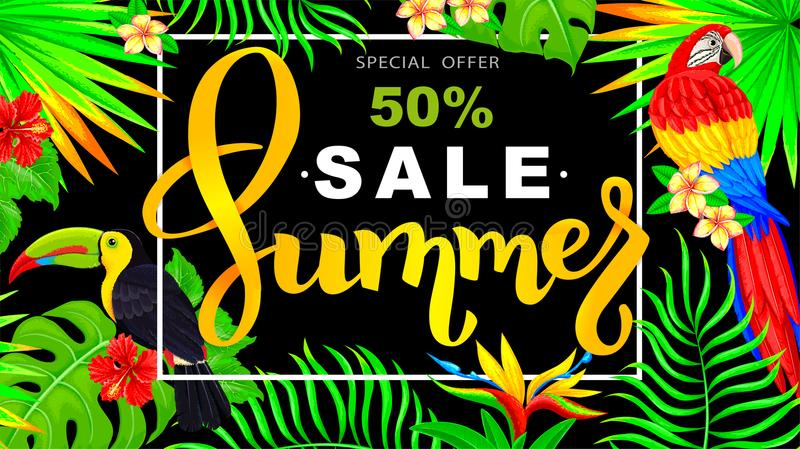 Insegna orizzontale di vendita di estate con il pappagallo e tucano e tropica illustrazione vettoriale
