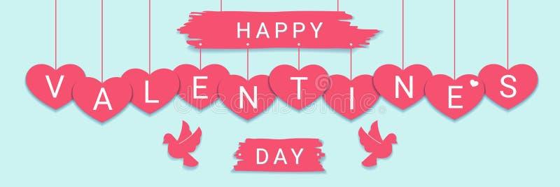 Insegna orizzontale felice di congratulazione di Valentine Day con il segno di saluto sui cuori rosa con le colombe illustrazione vettoriale
