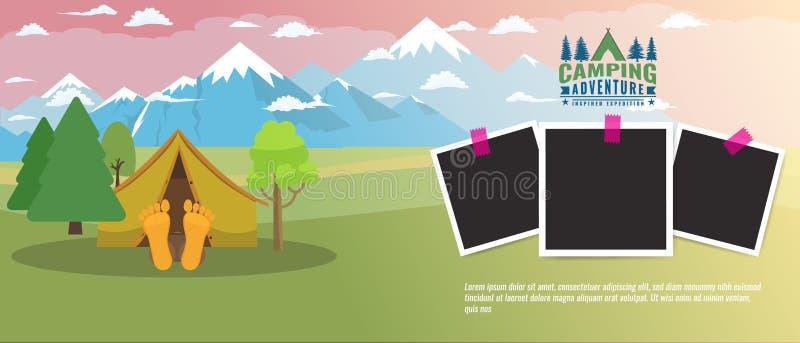 Insegna orizzontale piana di campeggio di concetto Disposizione della pubblicità di turismo con le strutture della foto Illustraz royalty illustrazione gratis