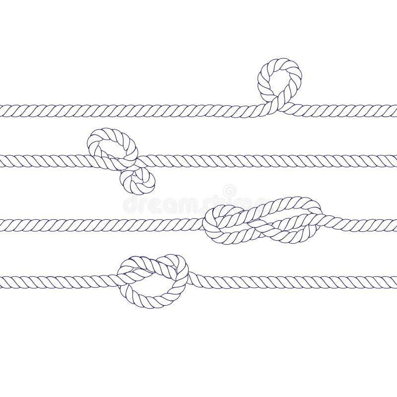 Insegna orizzontale senza cuciture bianca dei nodi del marinaio e della corda royalty illustrazione gratis
