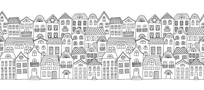 Insegna orizzontale senza cuciture con le piccole case sveglie royalty illustrazione gratis