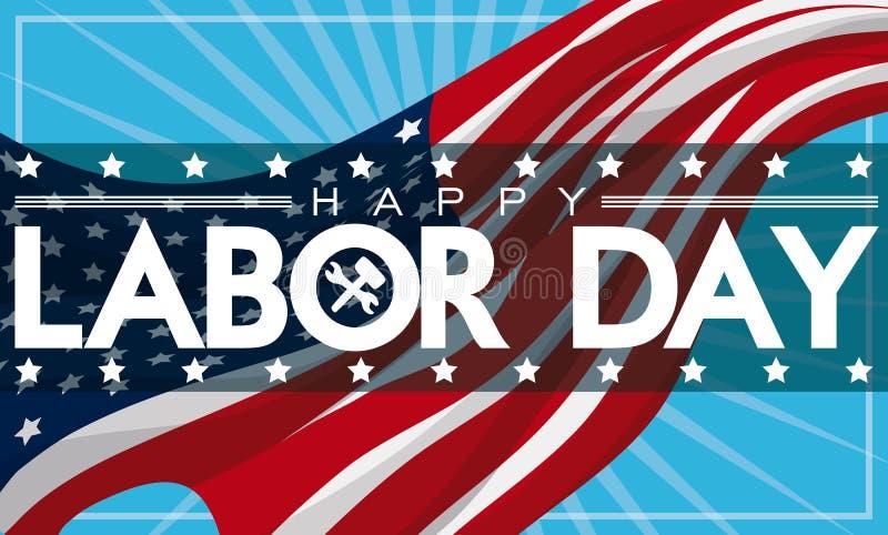 Insegna patriottica di festa del lavoro con la bandiera americana, illustrazione di vettore royalty illustrazione gratis