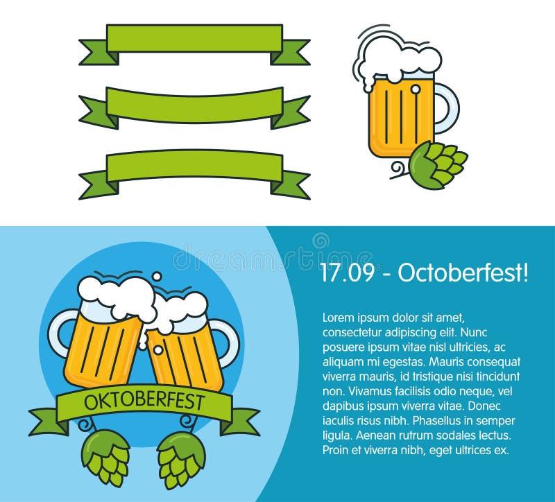 Insegna per il festival della birra o più oktoberfest Elementi di progettazione - tazze con birra, luppolo del cono, nastri illustrazione vettoriale