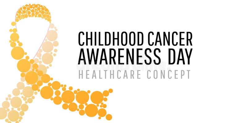 Insegna per il giorno di consapevolezza del cancro di infanzia illustrazione vettoriale