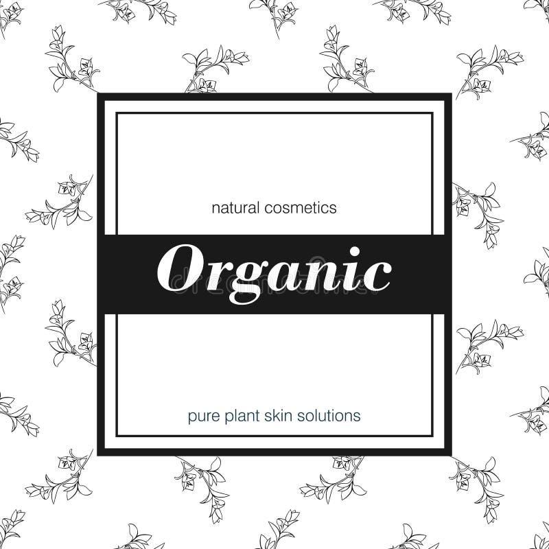 Insegna per il negozio organico Vector l'illustrazione floreale illustrazione di stock
