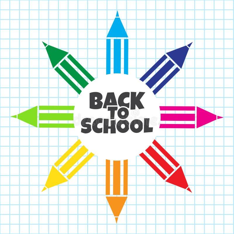 Insegna per il primo giorno di scuola Matita variopinta su fondo a quadretti Vettore illustrazione di stock