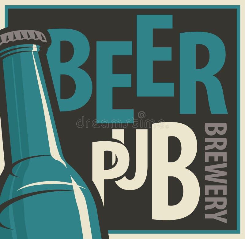 Insegna per il pub e la fabbrica di birra della birra con la bottiglia illustrazione di stock