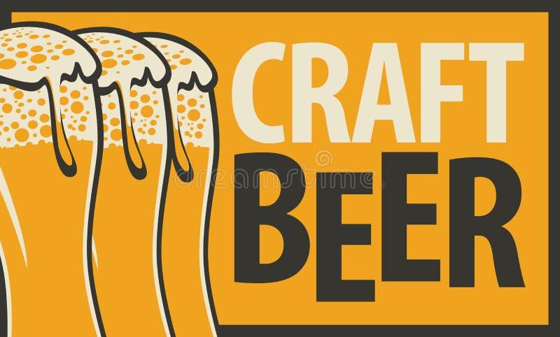 insegna per la birra del mestiere con tre vetri di birra illustrazione di stock