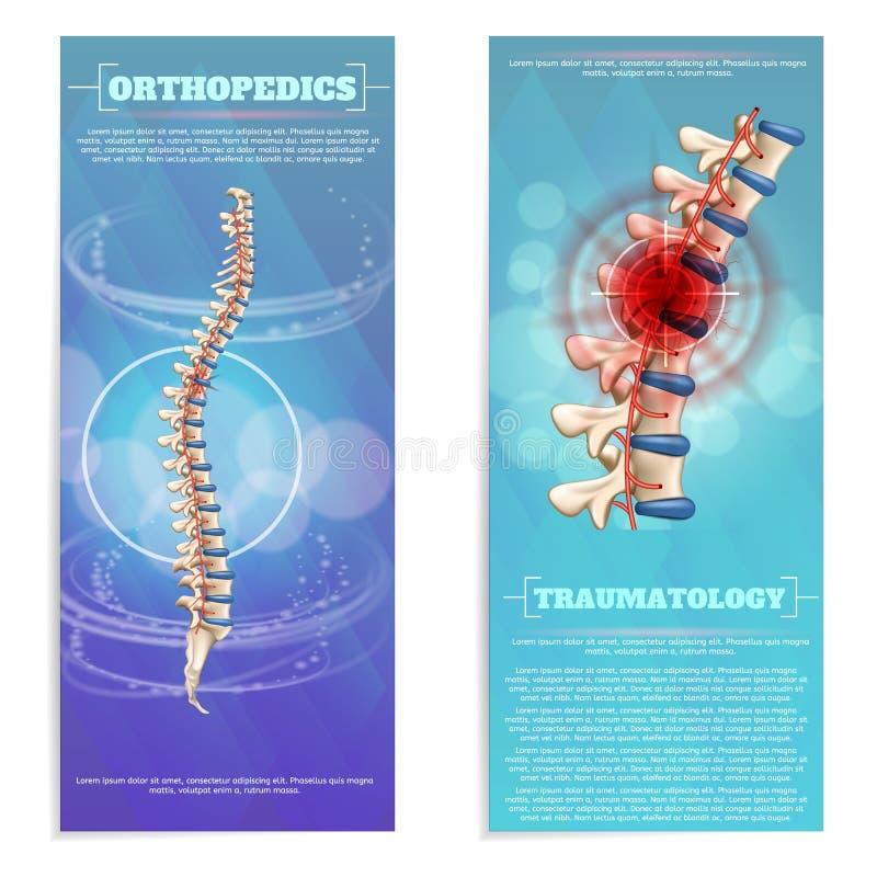 Insegna piana dell'insieme di traumatologia e di ortopedia illustrazione di stock