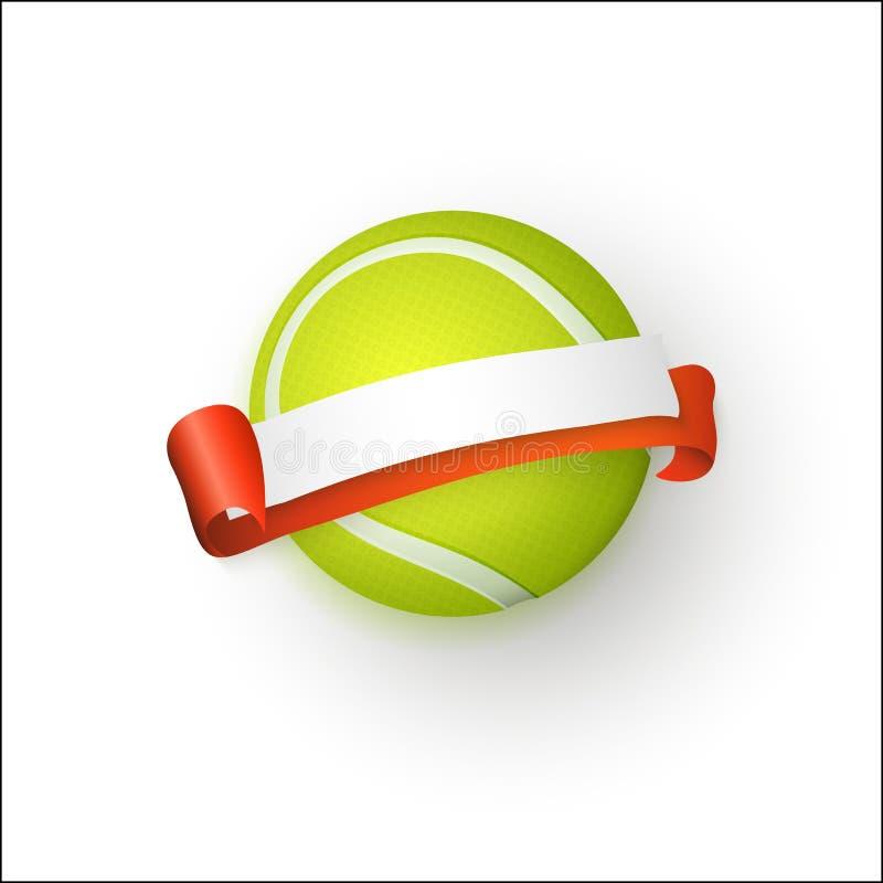 Insegna piana della pallina da tennis del fumetto di vettore isolata royalty illustrazione gratis