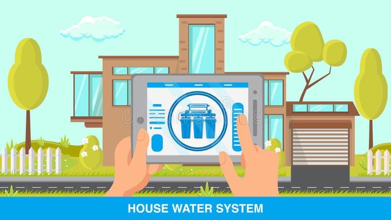 Insegna piana di vettore del sistema a acqua della Camera con testo illustrazione vettoriale