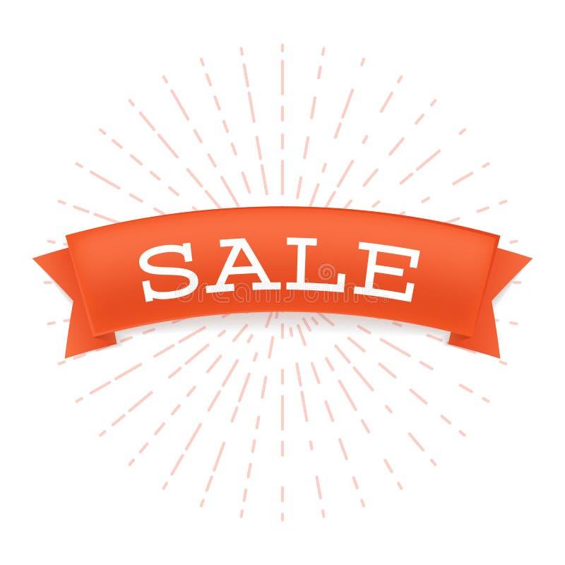 Insegna piana di vettore di offerta di vendita Iscrizione promozionale di prezzo ridotto sul nastro rosso con i raggi stilizzati  royalty illustrazione gratis