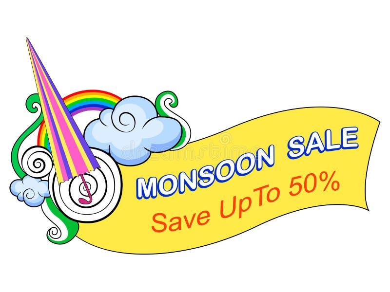 Insegna promozionale di monsone di offerta felice di vendita illustrazione vettoriale