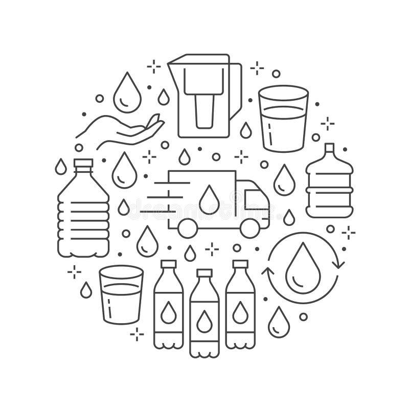 Insegna pura del cerchio di vettore dell'acqua con la linea piana icone L'acqua filtra, liquido potabile, vetro, vettore più fres royalty illustrazione gratis