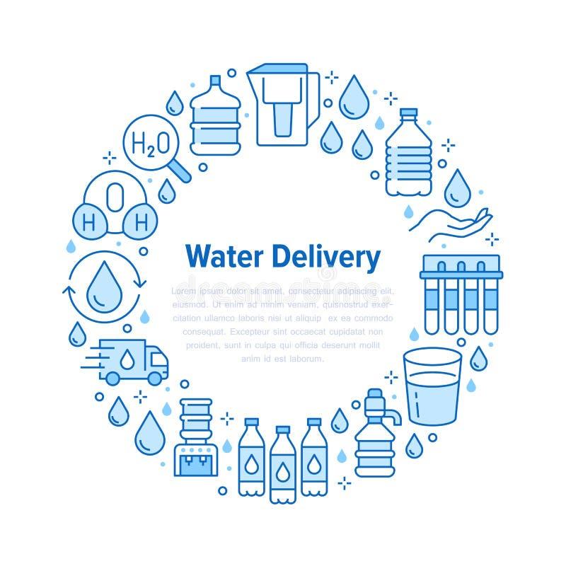 Insegna pura del cerchio di vettore dell'acqua con la linea piana icone L'acqua filtra, liquido potabile, vetro, vettore più fres illustrazione di stock
