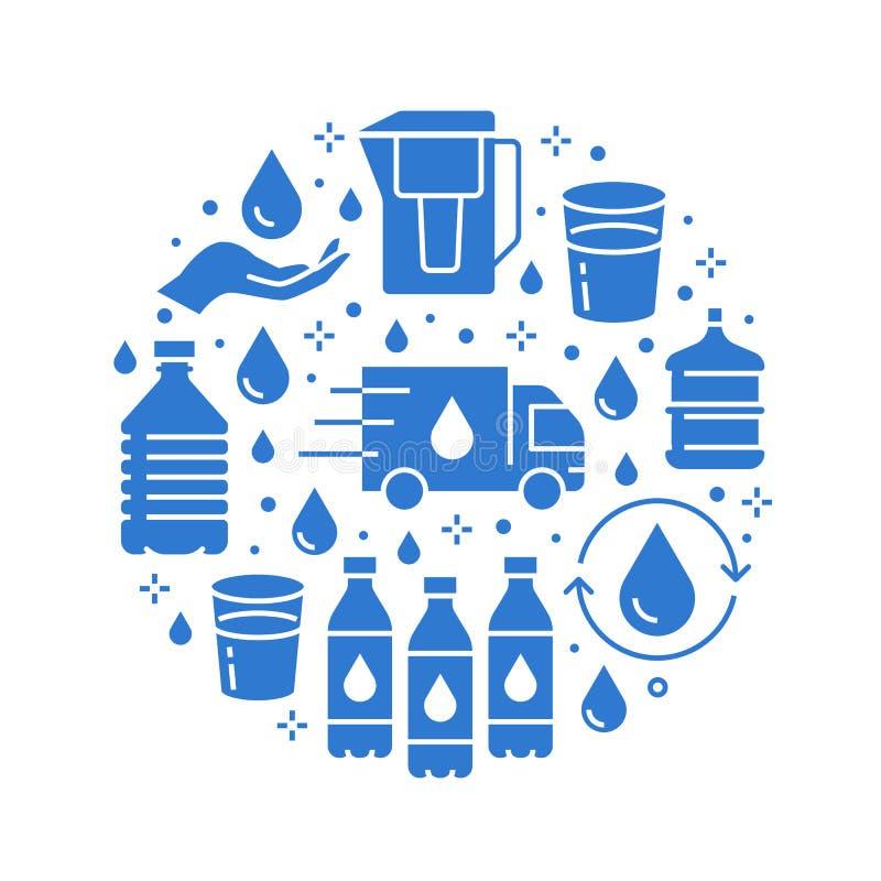 Insegna pura del cerchio di vettore dell'acqua con le icone piane di glifo L'acqua filtra, liquido potabile, vetro, vettore più f illustrazione di stock