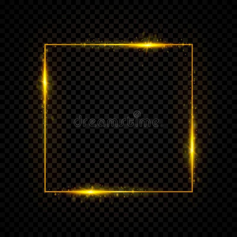 Insegna quadrata brillante dell'oro Dorato, scintilla, effetto della luce al neon d'ardore Illustrazione di vettore royalty illustrazione gratis