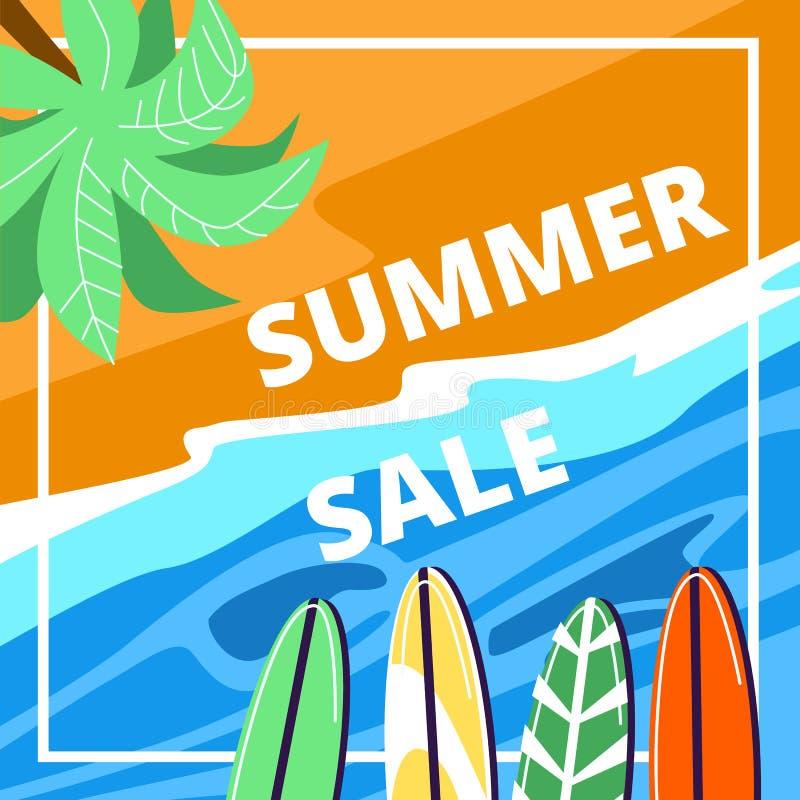 Insegna quadrata di vendita di estate, spiaggia del mare di vista superiore royalty illustrazione gratis