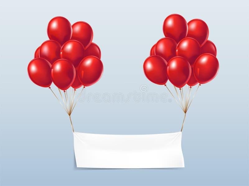 Insegna realistica del tessuto di vettore con i palloni rossi illustrazione di stock