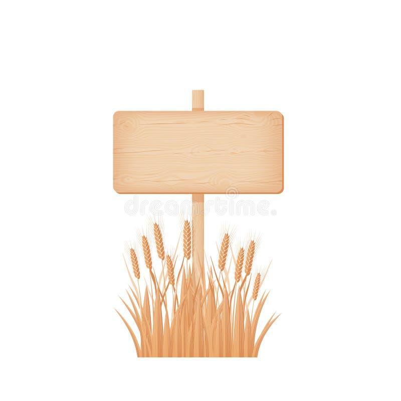 Insegna rettangolare di legno su un palo al giacimento di grano illustrazione di stock