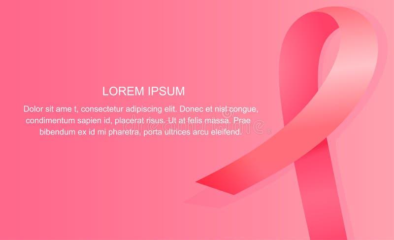 Insegna rosa del nastro del raso Concetto nazionale di mese di consapevolezza del cancro al seno illustrazione di stock