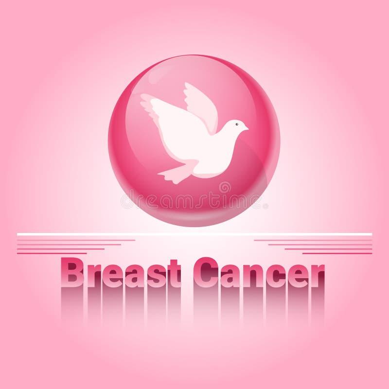 Insegna rosa di consapevolezza del cancro al seno del piccione royalty illustrazione gratis