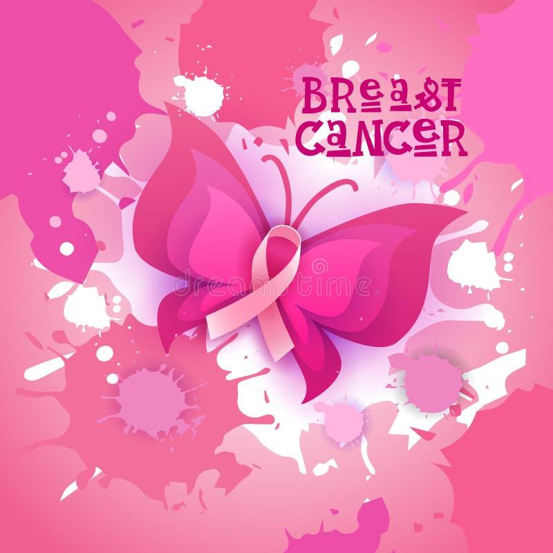 Insegna rosa di consapevolezza del cancro al seno della farfalla del nastro illustrazione vettoriale