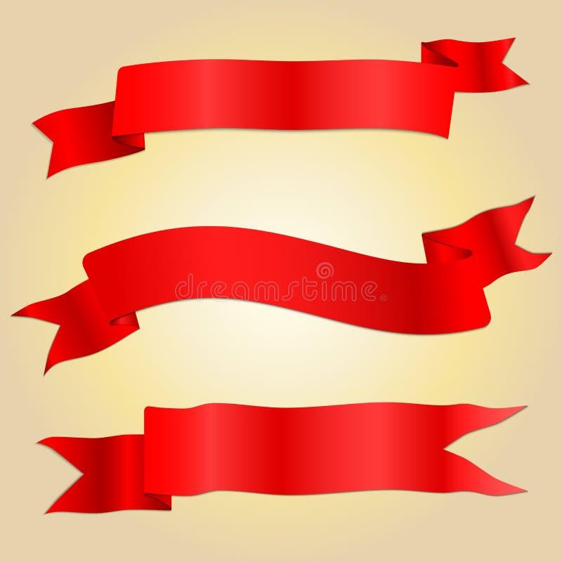 Insegna rossa del nastro di asimmetria con ombreggiatura ed ombre illustrazione di stock