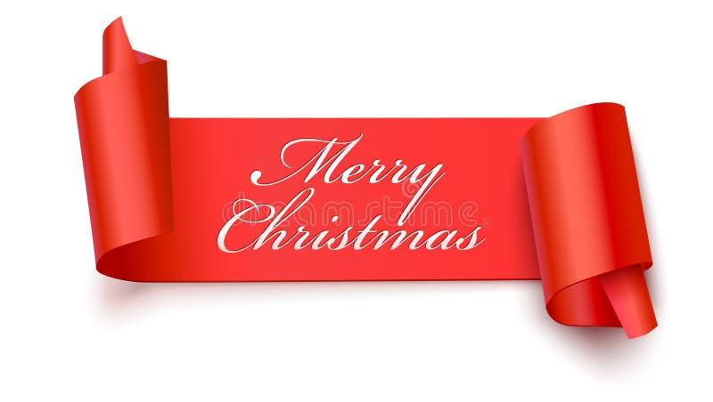 Insegna rossa di Natale con il testo di saluto, illustrazione 3D Insegna del nuovo anno sul contesto bianco Nastro rosso realisti illustrazione di stock