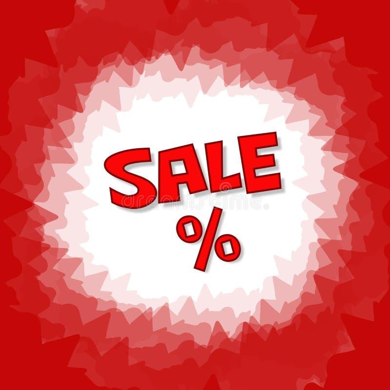 Insegna rossa di vendita e delle percentuali del testo Fondo rosso dell'icona, di struttura e di vettore nel formato quadrato royalty illustrazione gratis