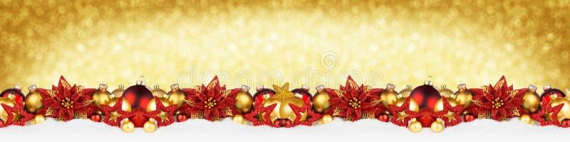 Insegna rossa eccellente di panorama dell'oro della ghirlanda di Natale ampia fotografie stock