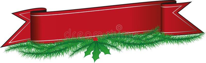 Insegna rossa illustrata di Natale con gli aghi del pino e dell'agrifoglio royalty illustrazione gratis
