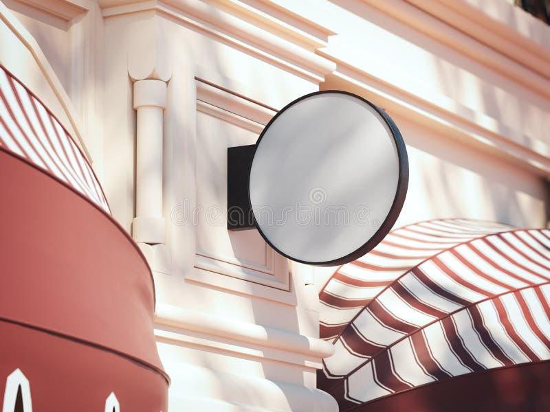 Insegna rotonda in bianco sulla parete luminosa rappresentazione 3d illustrazione vettoriale