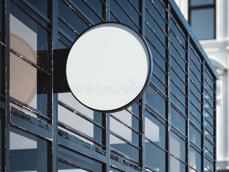 Insegna rotonda in bianco sulla parete moderna Immagazzini l'entrata rappresentazione 3d immagine stock libera da diritti