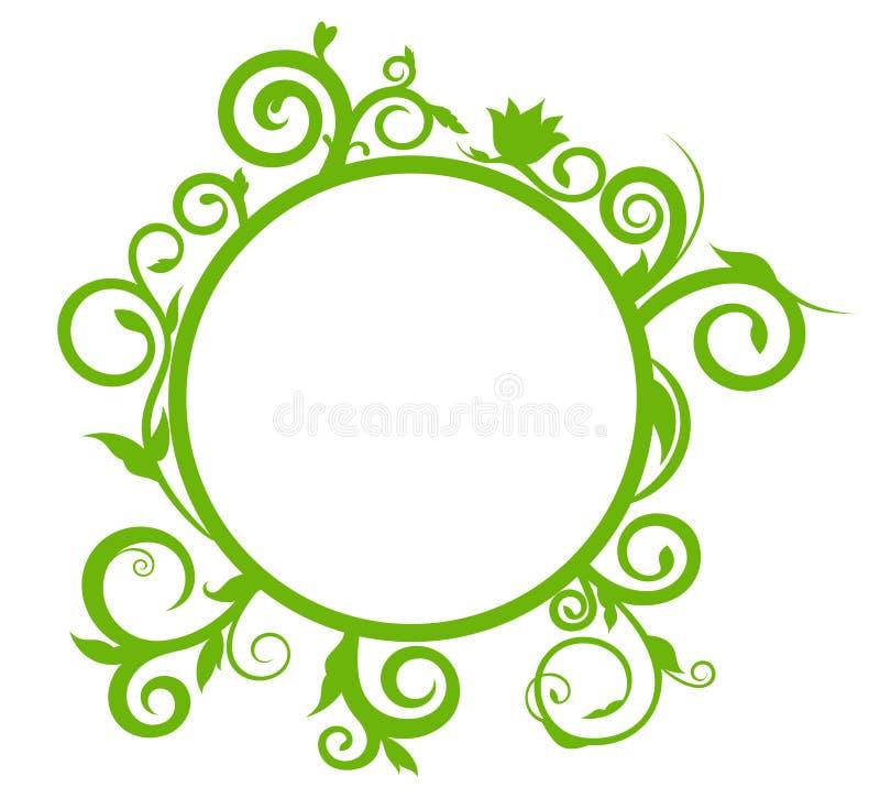 Insegna rotonda con l'ornamento delicato della molla per la vostra progettazione illustrazione vettoriale