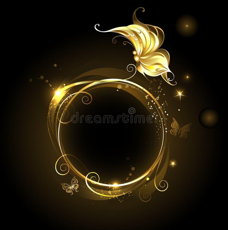 Insegna rotonda con la farfalla dorata illustrazione vettoriale