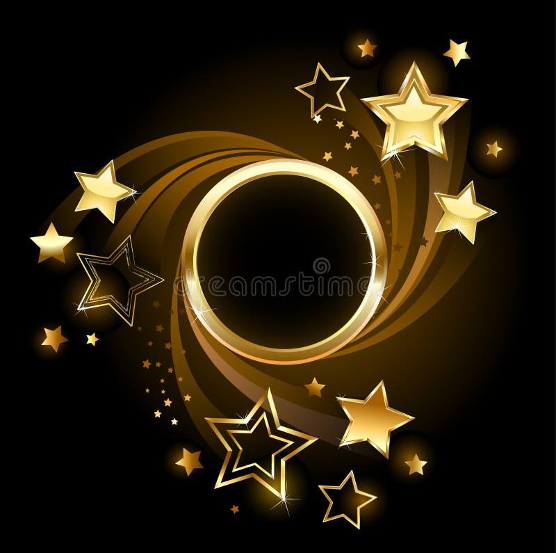 Insegna rotonda con le stelle illustrazione vettoriale