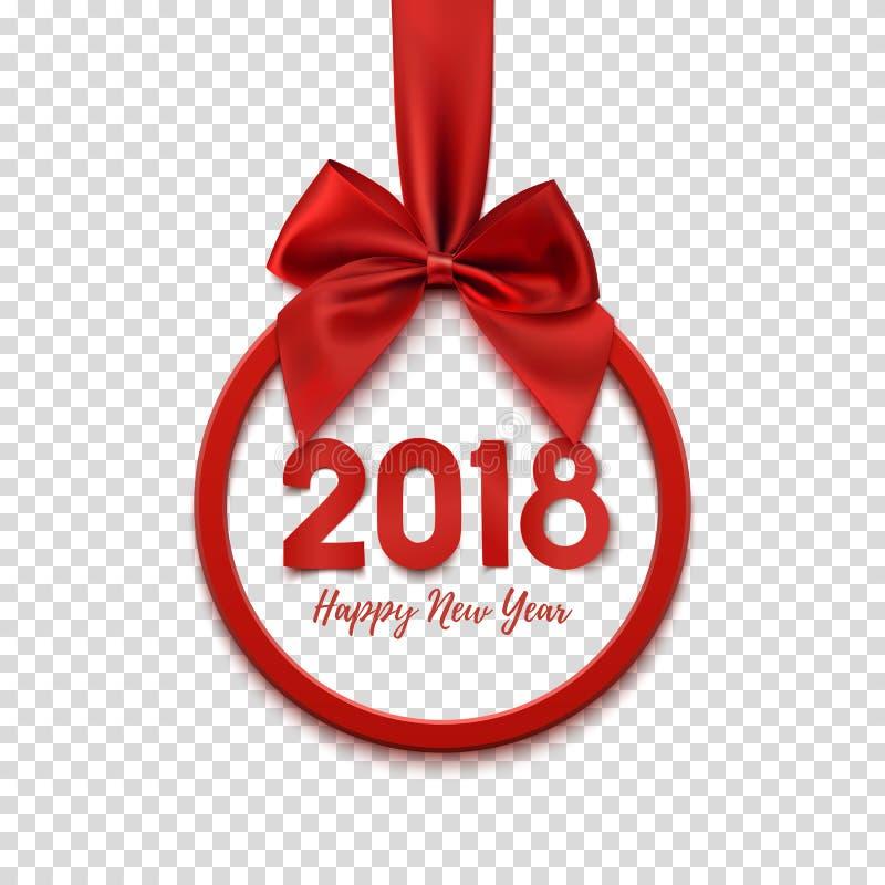 Insegna rotonda del buon anno 2018 con il nastro e l'arco rossi illustrazione di stock