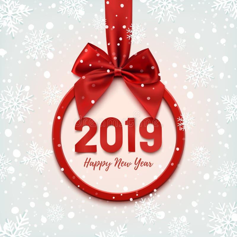 Insegna rotonda del buon anno 2019 con il nastro rosso royalty illustrazione gratis