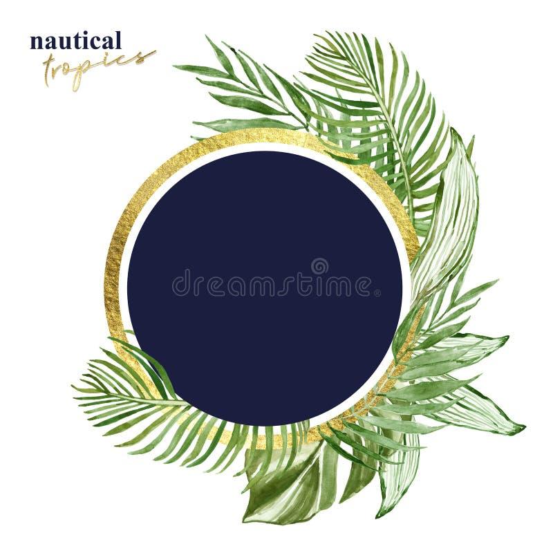 Insegna rotonda delle foglie tropicali dell'acquerello con spazio per testo, isolato Illustrazione esotica verde delle piante Str illustrazione vettoriale