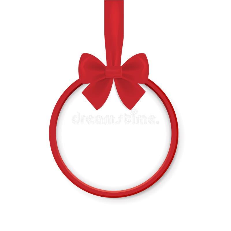 Insegna rotonda di Natale con il nastro rosso ed arco isolato su fondo bianco Illustrazione di vettore Palla di Natale illustrazione di stock