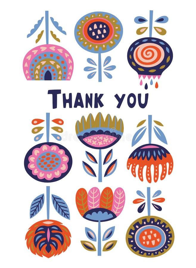 Insegna scandinava della flora con il messaggio di ringraziamenti Arte di piega svedese royalty illustrazione gratis