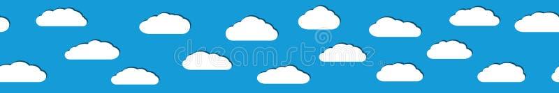 Download Insegna Senza Cuciture Delle Nuvole Bianche Con Le Ombre Illustrazione Vettoriale - Illustrazione di background, bandiera: 117977846