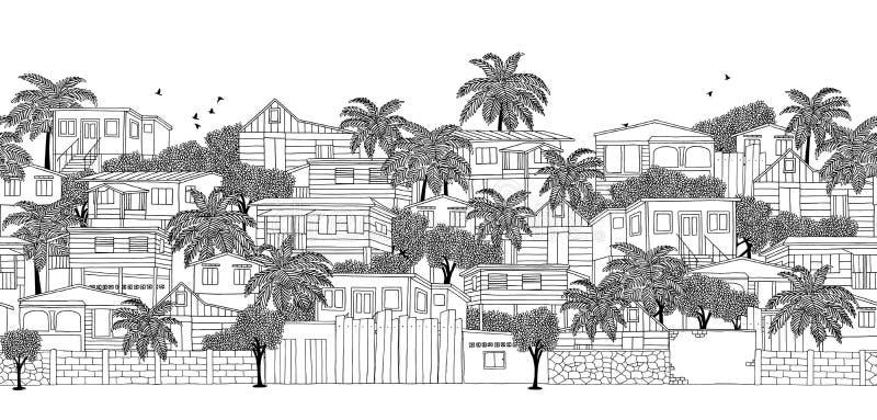 Insegna senza cuciture di un villaggio caraibico illustrazione vettoriale