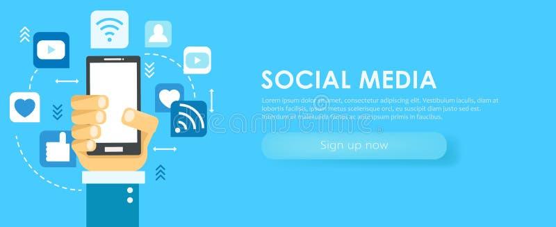 Insegna sociale di media Telefono con le icone illustrazione di stock