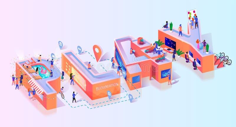 Insegna sociale online di tipografia del gioco del gioco del Gamer illustrazione vettoriale