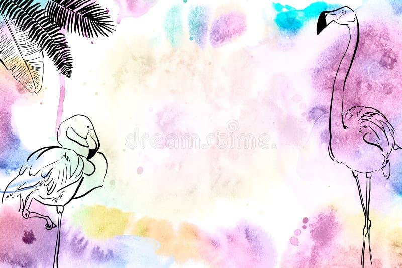 Insegna strutturata dipinta a mano dell'acquerello tropicale immagine stock libera da diritti
